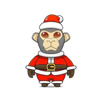 Ilustração de mascote macaco fofo com fantasia de papai noel para o natal