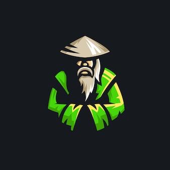 Ilustração de mascote mestre monge logotipo