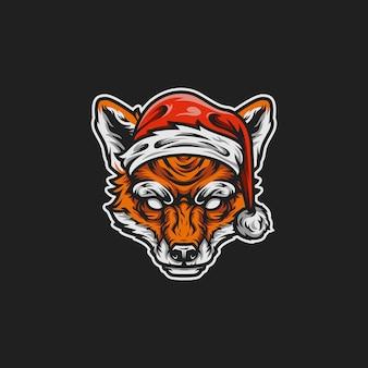 Ilustração de mascote raposa santa