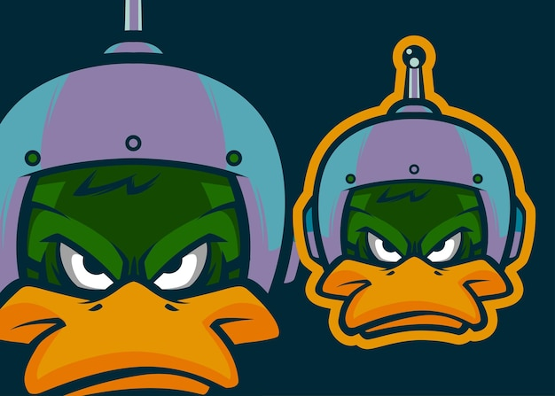 Ilustração de mascote vetorial premium cabeça de pato angry duck