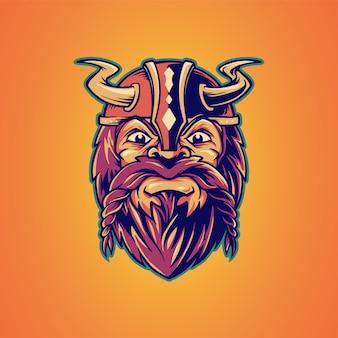 Ilustração de mascote viking