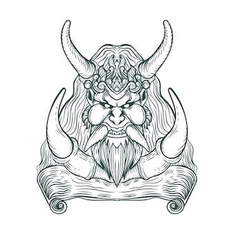 Ilustração de mascote vintage de demônio