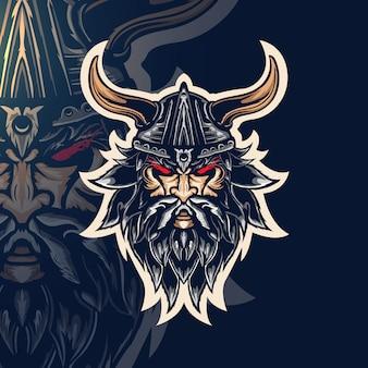 Ilustração de mascote vintage guerreiro viking