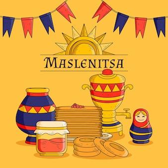 Ilustração de maslenitsa desenhada à mão