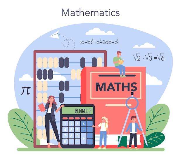 Ilustração de matéria escolar de matemática