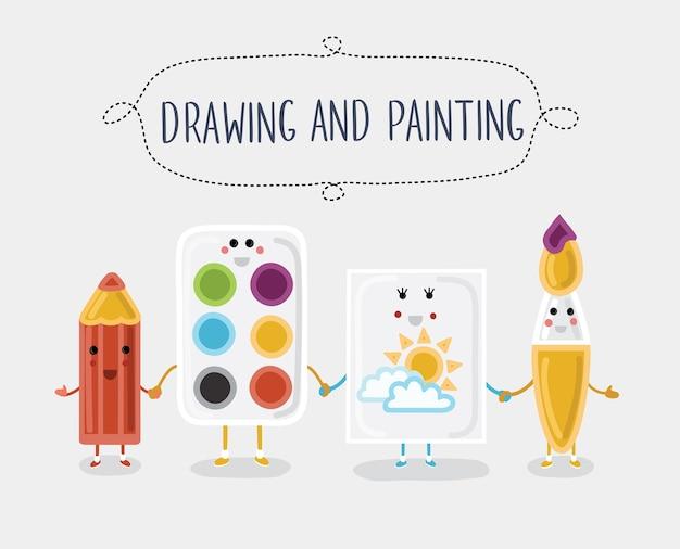 Ilustração de materiais de desenho e pintura. personagens de desenhos animados com rostos sorridentes
