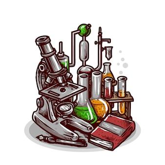 Ilustração de materiais de laboratório e ferramentas químicas líquidas