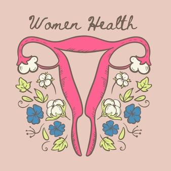Ilustração de materiais naturais orgânicos de saúde de mulheres