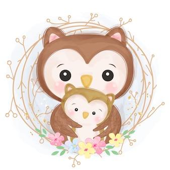 Ilustração de maternidade adorável coruja
