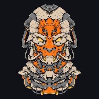 Ilustração de mecha de cachorro cyberpunk design de camisa de robô de cabeça de cachorro altamente detalhado