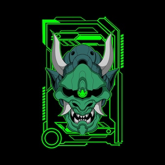 Ilustração de mecha oni verde