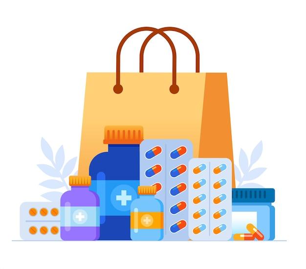 Ilustração de medicamentos de farmácia com sacola de compras
