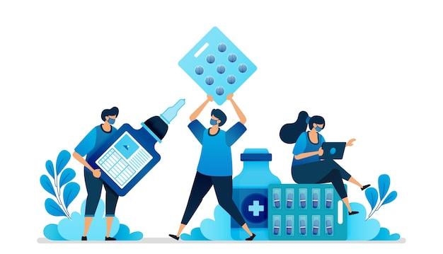 Ilustração de medicamentos para doenças e vacinas.