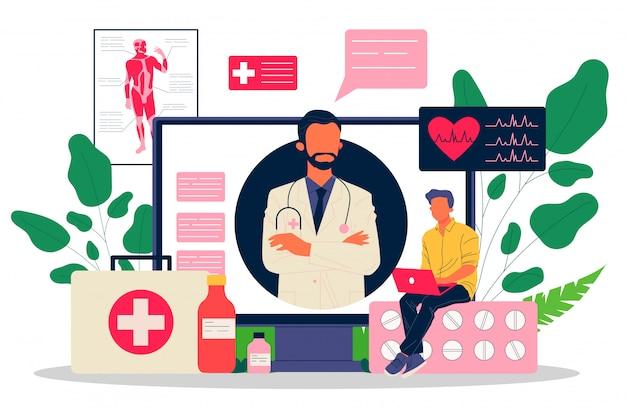 Ilustração de médico on-line