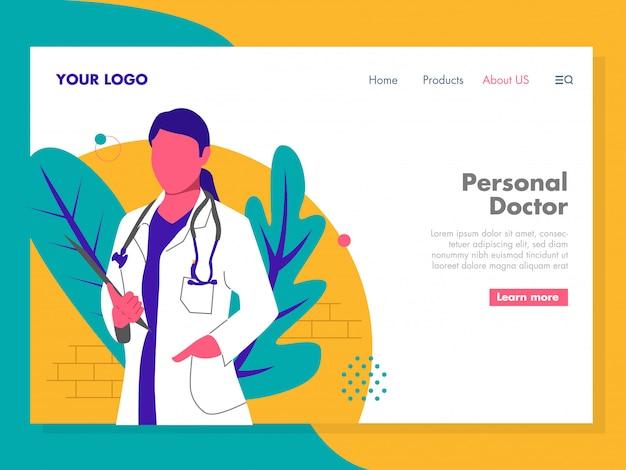 Ilustração de médico para a página de destino