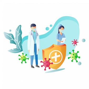 Ilustração de médicos e enfermeiras i