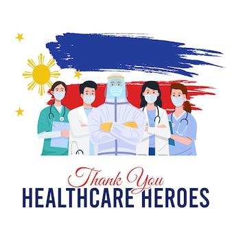 Ilustração de médicos e enfermeiras usando máscaras com a bandeira das filipinas