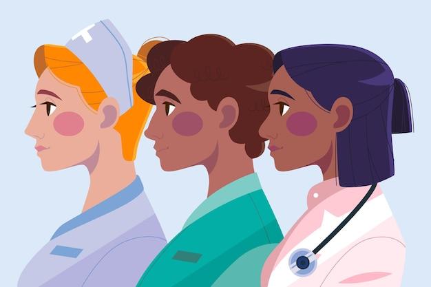 Ilustração de médicos e enfermeiras