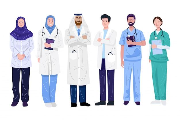 Ilustração de médicos e enfermeiros do oriente médio.