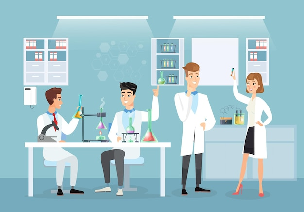 Ilustração de médicos em laboratório médico, fazendo vacina. cientistas, coronavírus, imunização