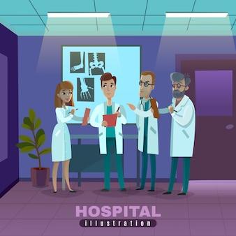 Ilustração de médicos no hospital