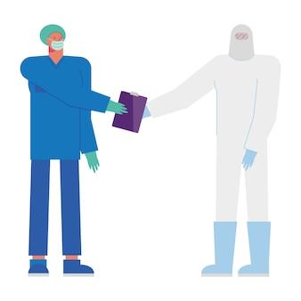 Ilustração de médicos profissionais do sexo masculino usando máscaras médicas