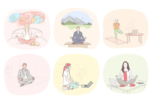 Ilustração de meditação e relaxamento