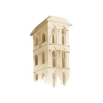 Ilustração, de, mediterrâneo, cidade, predios, exterior, cor água, estilo