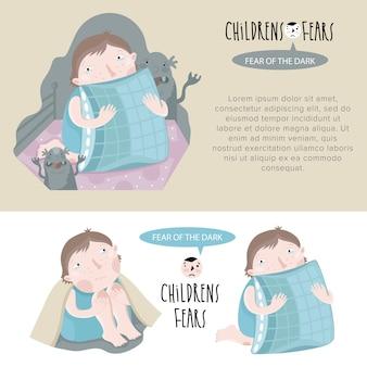 Ilustração de medos infantil.