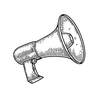 Ilustração de megafone em estilo de gravura isolado no fundo branco. elemento de design para cartaz, cartão, banner, panfleto. ilustração vetorial