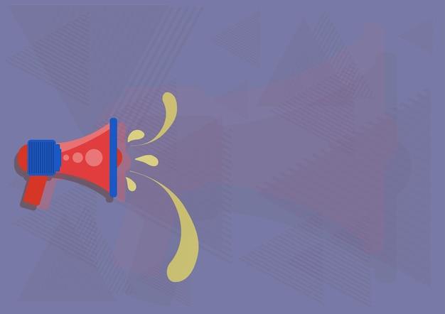Ilustração de megafone vazando água fazendo um novo anúncio importante megafone
