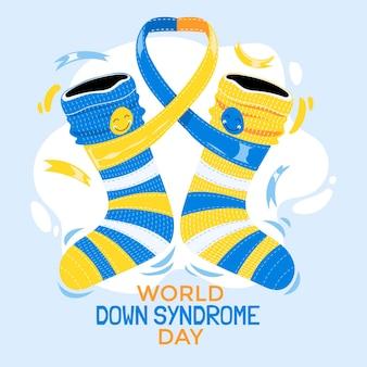 Ilustração de meias infantis para o dia mundial da síndrome de down