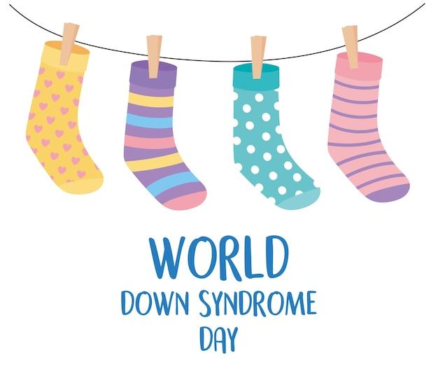 Ilustração de meias penduradas engraçadas do dia mundial da síndrome de down