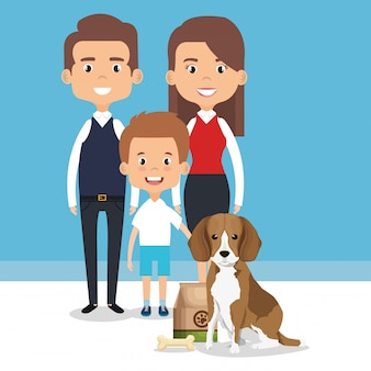 Ilustração de membros da família com personagens de animais de estimação