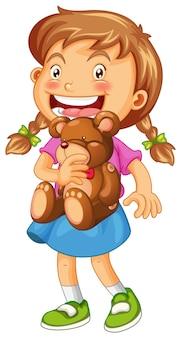 Ilustração de menina abraçando ursinho marrom
