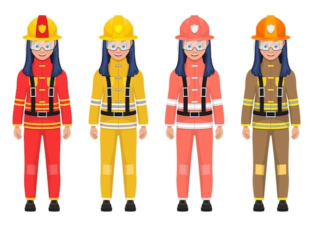Ilustração de menina bombeiro isolada no branco