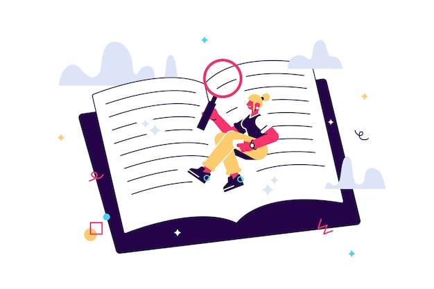 Ilustração de menina bonita colocar em um grande livro e ler. aluno, leitor de livros, pesquisador. estudando o conceito.