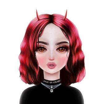 Ilustração de menina bonito diabo. retrato dos desenhos animados.