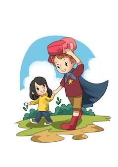 Ilustração de menina caminhando para a escola