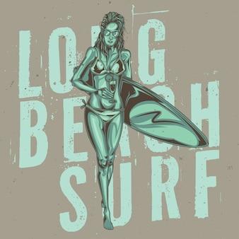 Ilustração de menina com coquetéis e prancha de surf