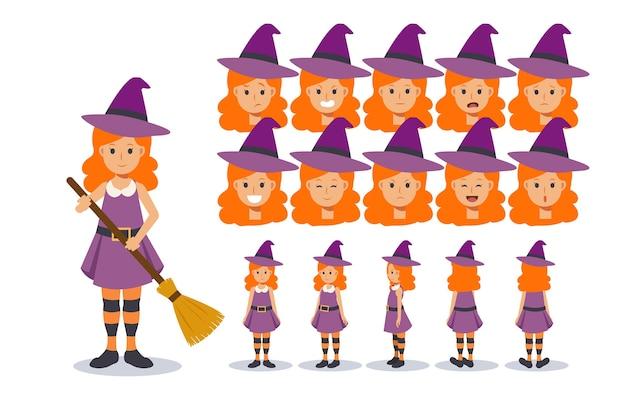 Ilustração de menina com fantasia de bruxa