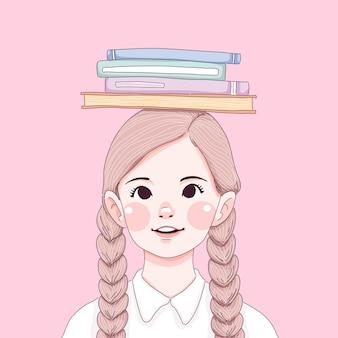 Ilustração de menina com livros didáticos na cabeça