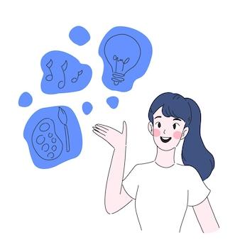 Ilustração de menina com pensamento criativo