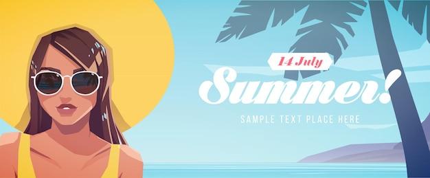 Ilustração de menina com um chapéu em uma paisagem tropical. banner de férias de verão