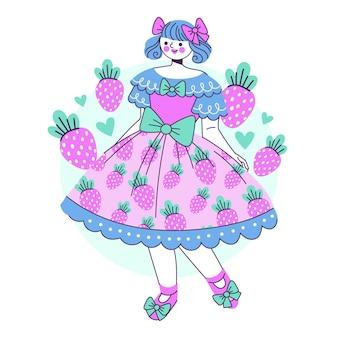 Ilustração de menina desenhada à mão em estilo lolita plano