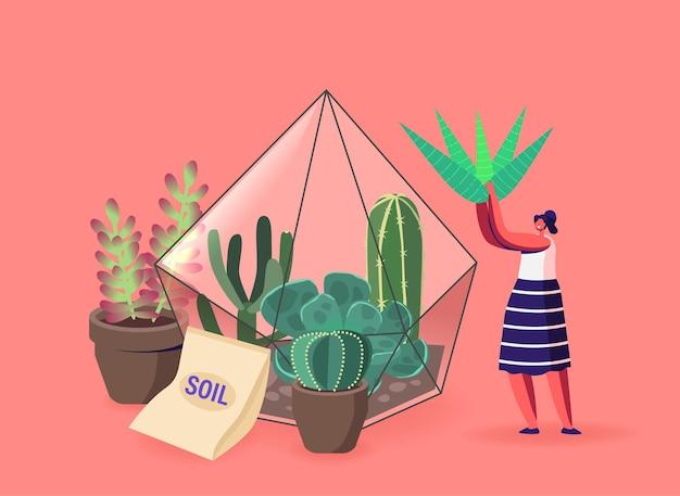 Ilustração de menina e vasos de plantas verdes, jardinagem, plantio de flores