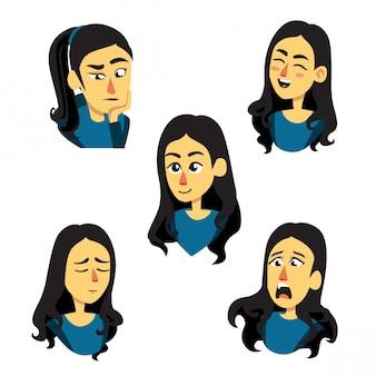 Ilustração de menina em diferentes expressões faciais