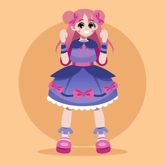 Ilustração de menina estilo gradiente lolita