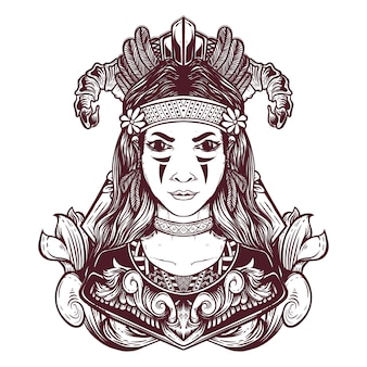 Ilustração de menina étnica desenhada de mão