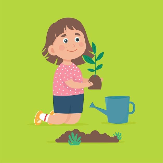 Ilustração de menina fofa plantando árvore